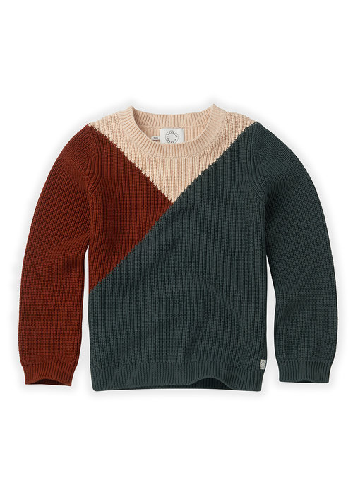 Sproet & Sprout Sproet & Sprout Sweater Colourblock Dusty Green