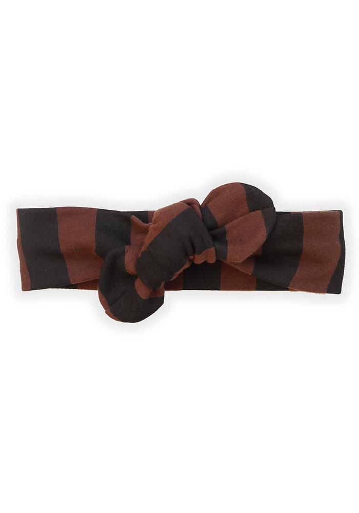Sproet & Sprout Turban Headband Painted Stripe Chocolate