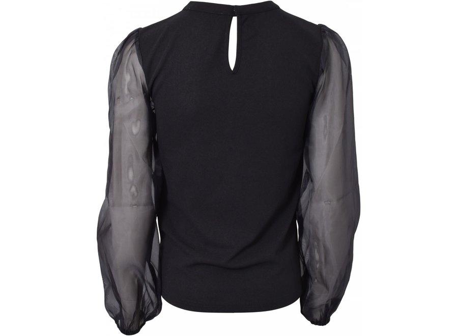 HOUND Puff Sleeve Top Black
