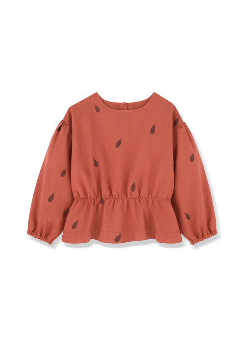 Kids on the Moon Kids on the Moon Rust Peplum Blouse