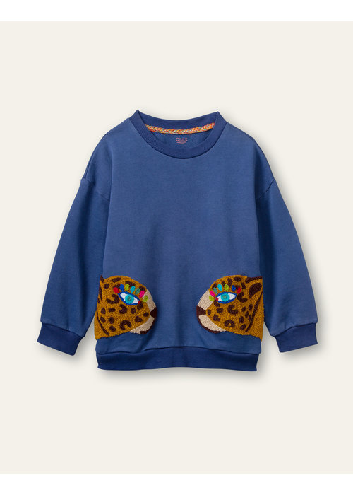 Oilily Oilily  Houble Sweater Plain Blue With Sheeta Pockets
