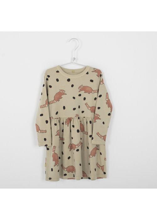 Lötiekids Lötiekids Dress Waist Seam Red Pandas Dots Cream