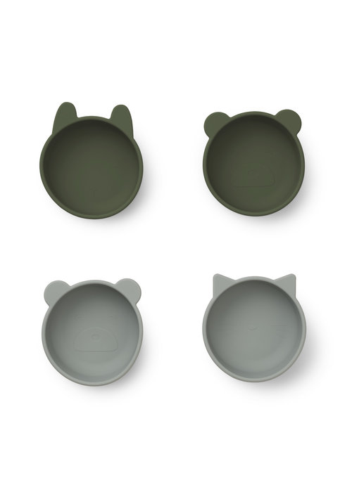 Liewood Liewood Iggy Silicone Bowls 4 pack Green Mix