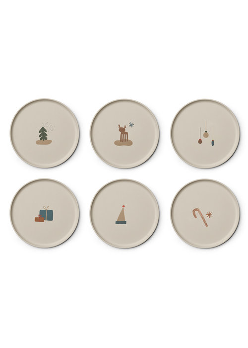 Liewood Liewood Patrick Bamboo Plate 6-pack Holiday Mix