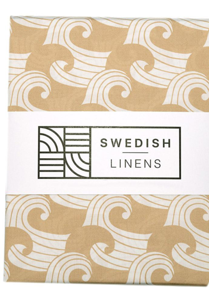 Swedish Linens WAVES Warm Sand Fitted Toddler Bed Sheet 70x160cm