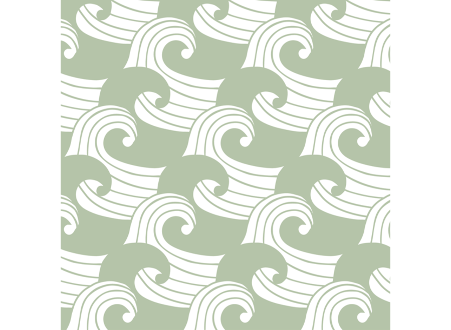 Swedish Linens WAVES Sage Green Fitted Toddler Bed Sheet 70x160cm
