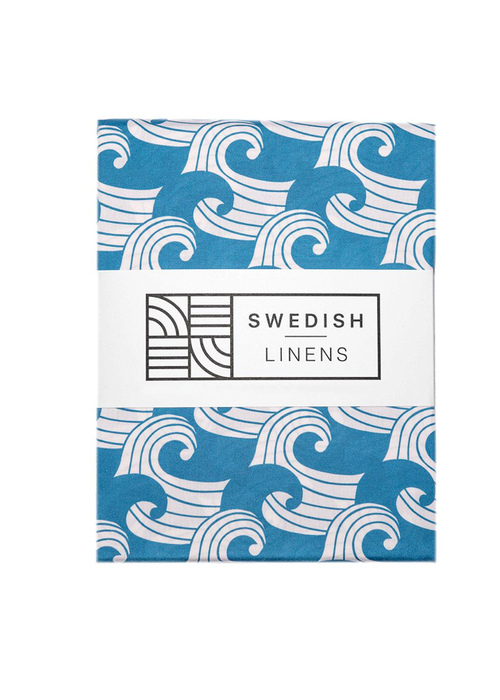 Swedish Linens Swedish Linens WAVES Kyoto Blue Fitted Toddler Bed Sheet 70x160cm