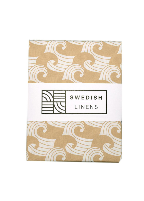 Swedish Linens Swedish Linens WAVES Warm Sand Fitted Single Bed Sheet 90x200cm
