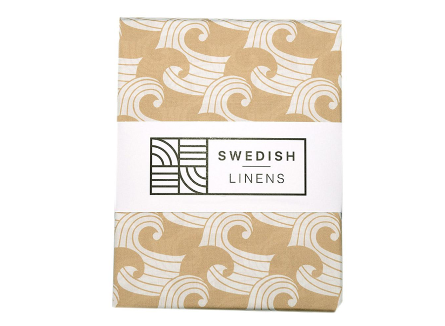 Swedish Linens WAVES Warm Sand Fitted Single Bed Sheet 90x200cm