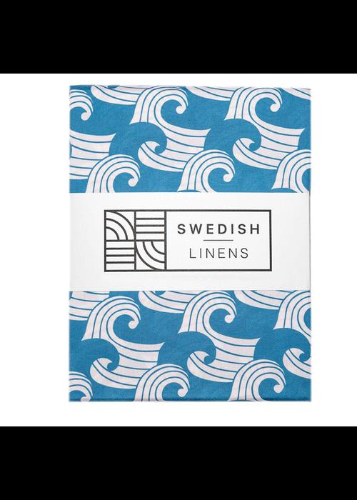 Swedish Linens Swedish Linens WAVES Kyoto BlueFitted Single Bed Sheet 90x200cm