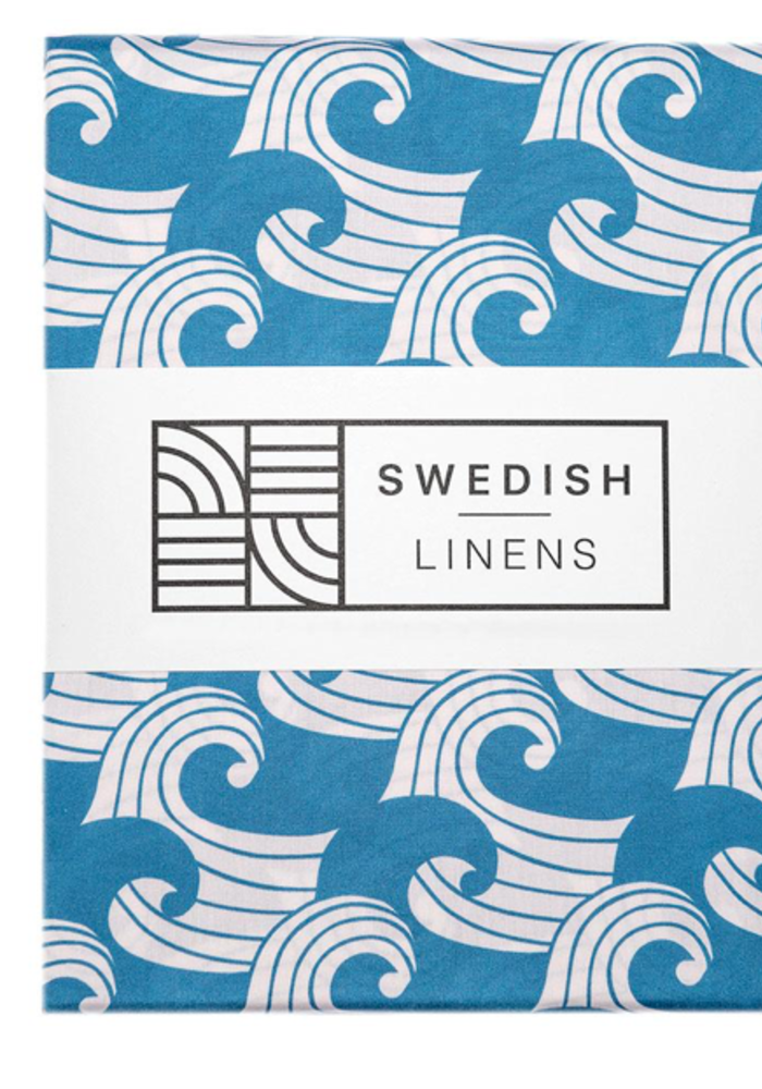 Swedish Linens WAVES Kyoto BlueFitted Single Bed Sheet 90x200cm