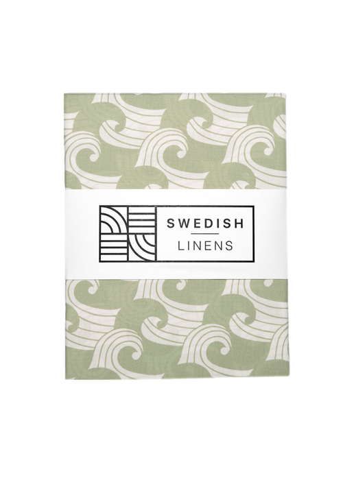 Swedish Linens Swedish Linens WAVES Sage Green Fitted Single Bed Sheet 90x200cm