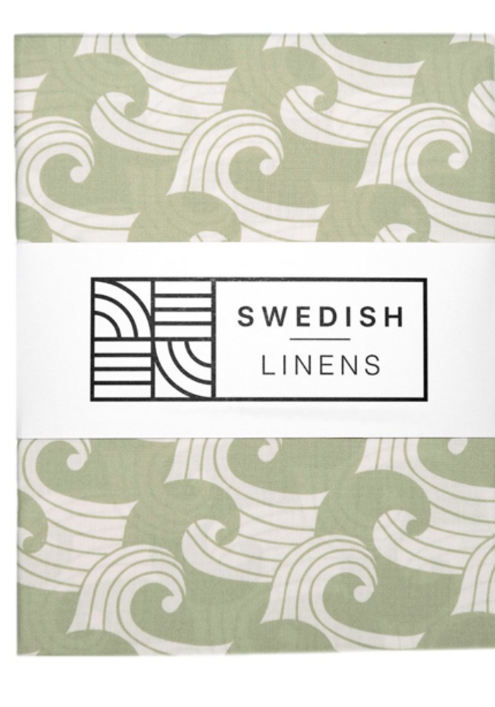 Swedish Linens WAVES Sage Green Fitted Single Bed Sheet 90x200cm