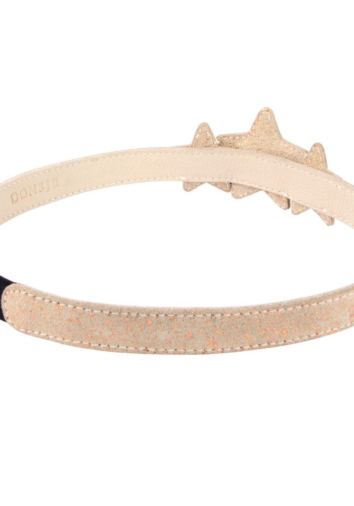 Donsje Starry Headband Cream Metallic Suede