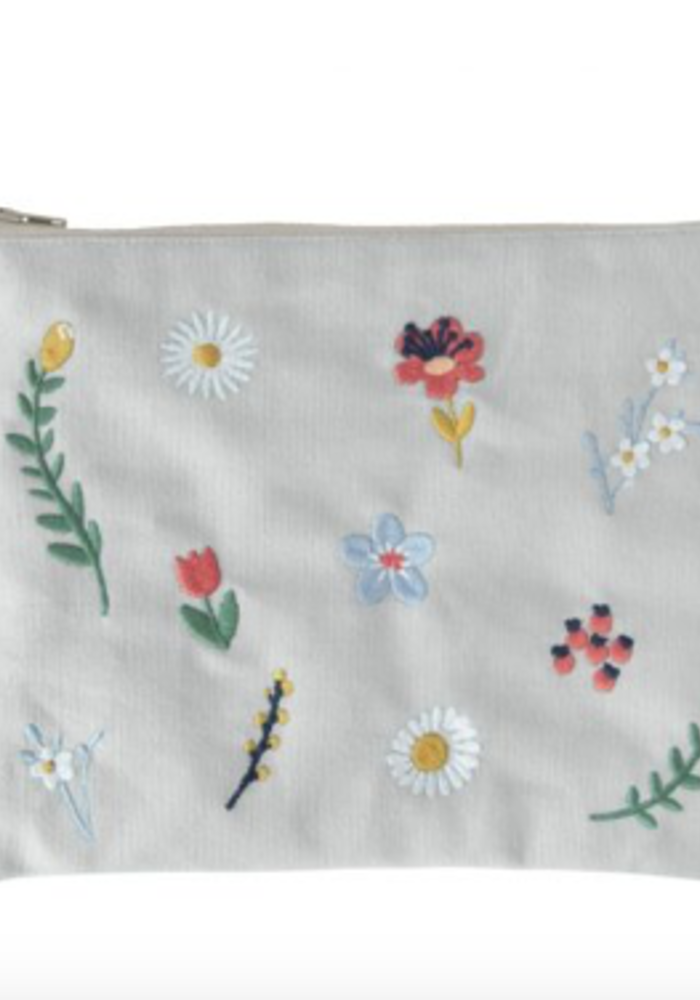 Global Affairs Pouch Embroidered Flowers Oyster