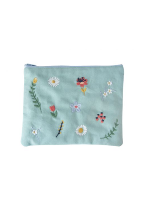 Global Affairs Global Affairs Pouch Embroidered Flowers Green