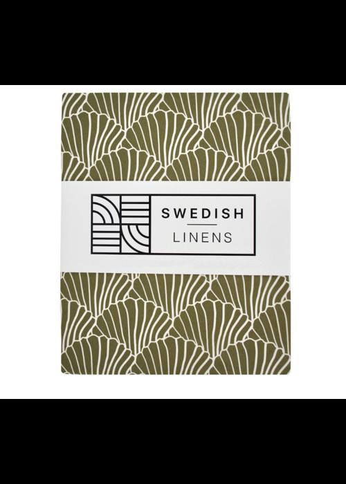Swedish Linens Swedish Linens Seashells Olive Green 180x200 cm Double Fitted Sheet