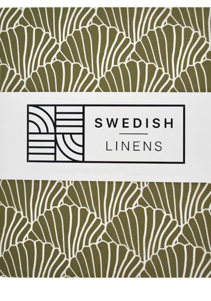Swedish Linens Seashells Olive Green 180x200 cm Double Fitted Sheet