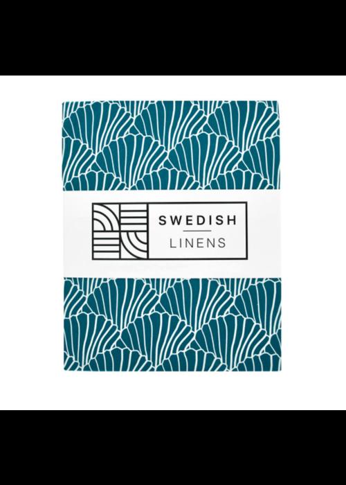 Swedish Linens Swedish Linens SEASHELLS Moroccan BlueFitted Single Bed Sheet 90x200cm