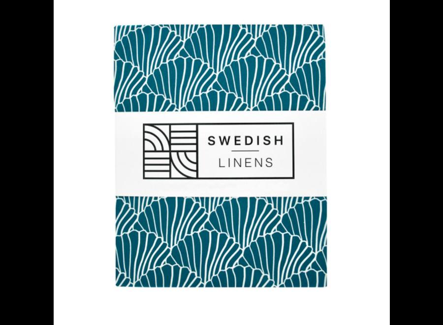 Swedish Linens SEASHELLS Moroccan BlueFitted Single Bed Sheet 90x200cm