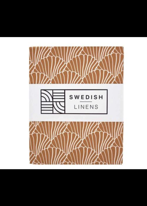 Swedish Linens Swedish Linens SEASHELLS Cinnamon Brown Fitted Single Bed Sheet 90x200cm