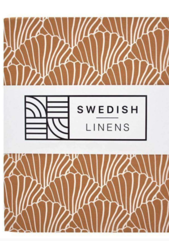 Swedish Linens SEASHELLS Cinnamon Brown Fitted Single Bed Sheet 90x200cm