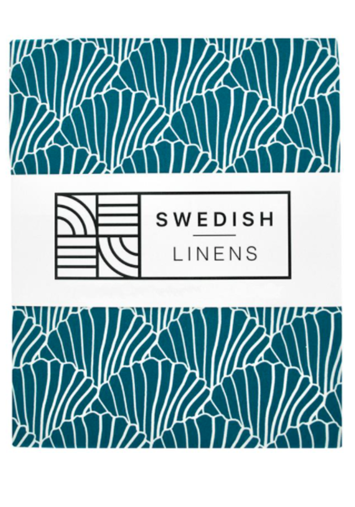 Swedish Linens SEASHELLS Morocan Blue Fitted Toddler Bed Sheet 70x160cm