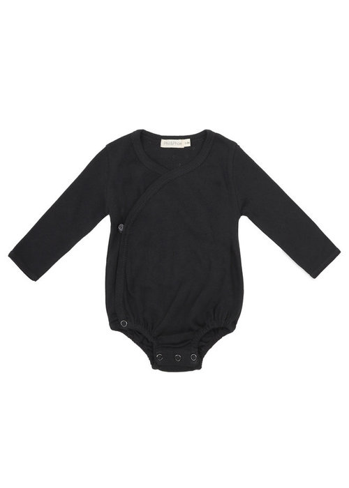 Phil&Phae Phil & Phae Cross-over Body LS Pointelle Charcoal