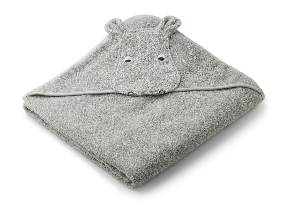 Liewood Augusta Hooded Towel - Hippo Dove Blue