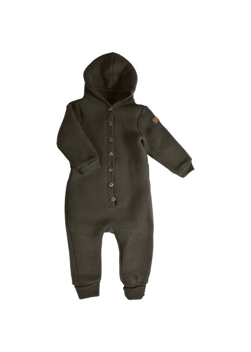 Mikk-Line Mikk-Line Wool Baby Suit with hood Black Olive