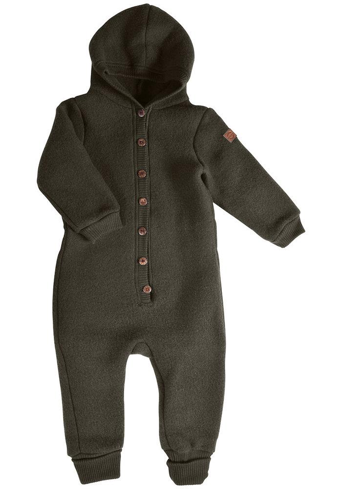 Mikk-Line Wool Baby Suit with hood Black Olive