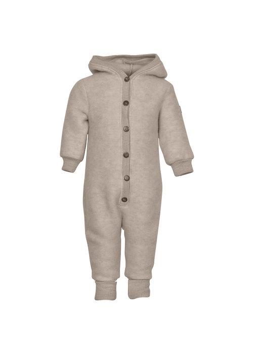 Mikk-Line Mikk-Line Wool Baby Suit with hood Melange Offwhite