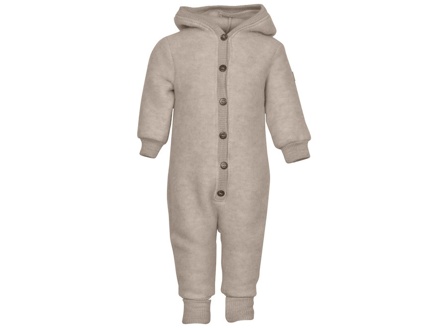 Mikk-Line Wool Baby Suit with hood Melange Offwhite