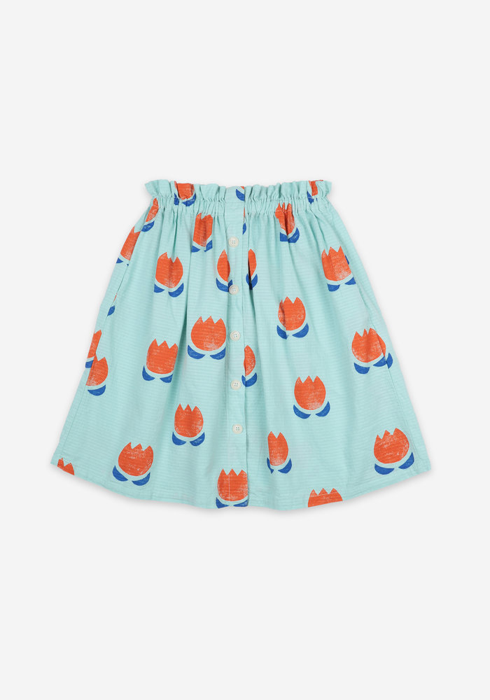 Bobo Choses Chocolate Flowers All Over Buttoned Midi Skirt