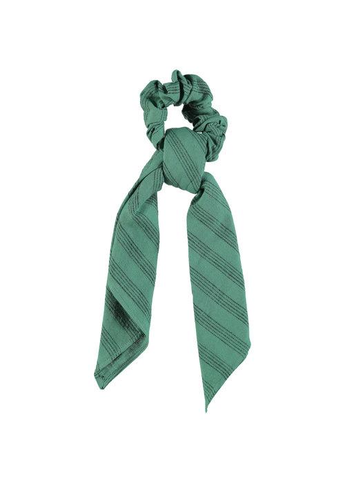PiuPiuChick PiuPiuChick Elastick Hair Band Emerald Grey Stripes