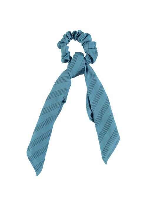 PiuPiuChick PiuPiuChick Elastick Hair Band Blue Grey Stripes