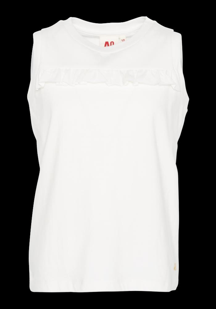 AO76 T-shirt c-neck Ruffle Vintage White
