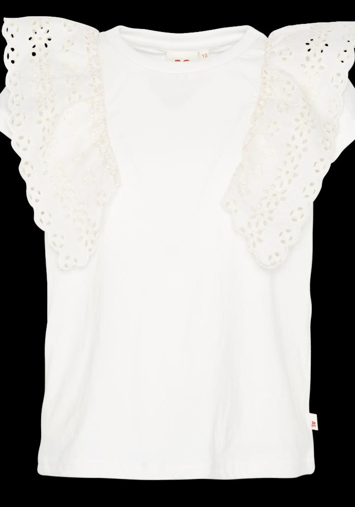 AO76 T-shirt c-neck Ruffle Bruna Vintage White
