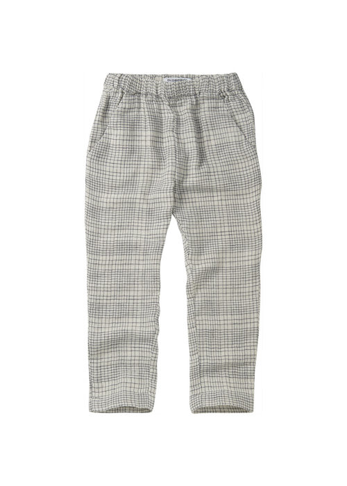 Mingo Mingo Tapered Trouser Block Pattern White/Blue Linen