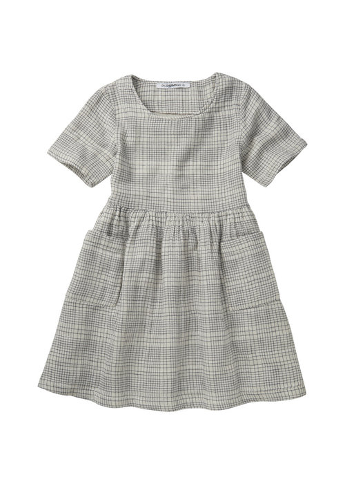 Mingo Mingo Dress Short Sleeve Block Pattern White/Blue Linen