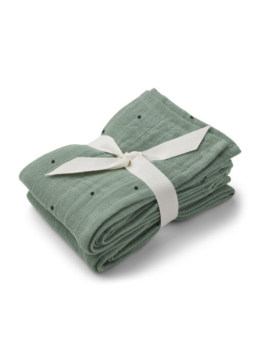 Liewood Liewood Lewis Muslin Cloth 2-pack Classic Dot Peppermint