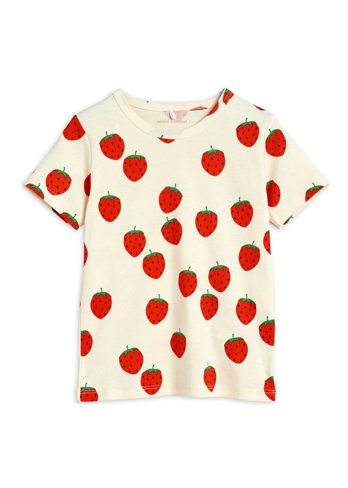 Mini Rodini Mini Rodini Strawberry aop ss Tee Offwhite