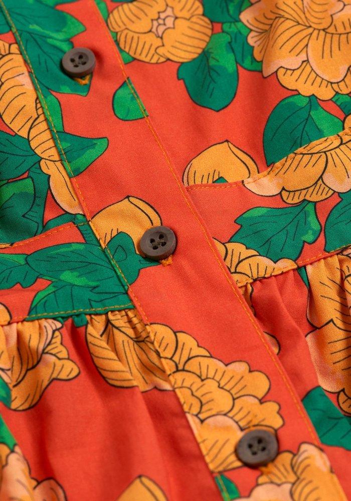 Mini Rodini Peonies Woven Ruffle Dress Red