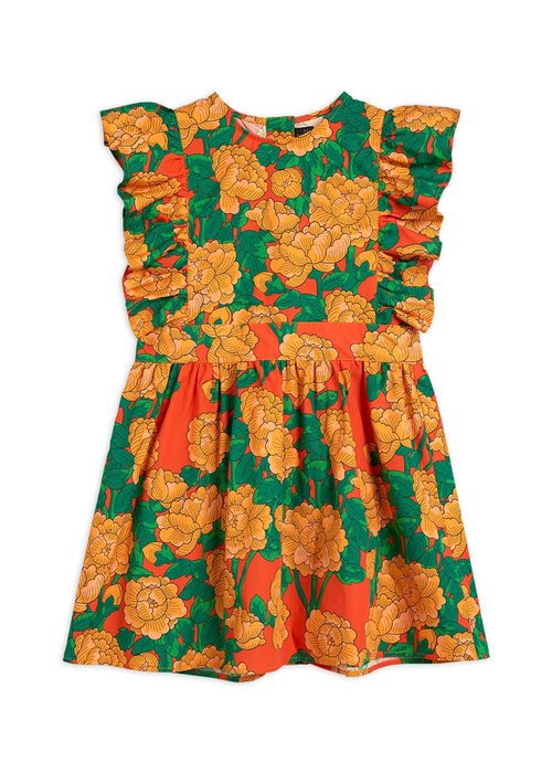Mini Rodini Mini Rodini Peonies Woven Ruffle Dress Red