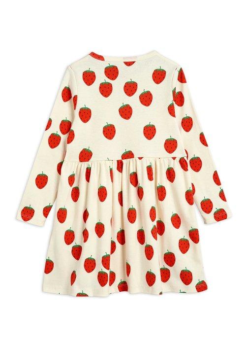 Mini Rodini Mini Rodini Strawberry aop LS Dress Offwhite