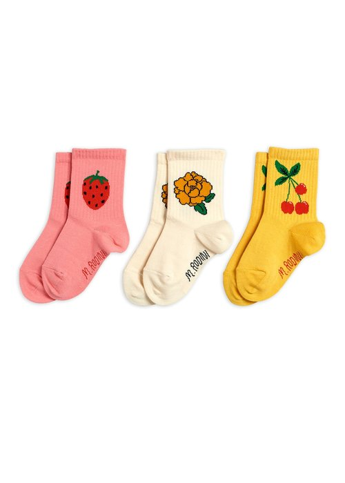 Mini Rodini Mini Rodini Cherry and Co 3 pack Socks Multi