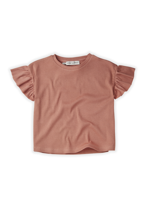 Sproet & Sprout Sproet & Sprout T-shirt Rib Ruffle Rose