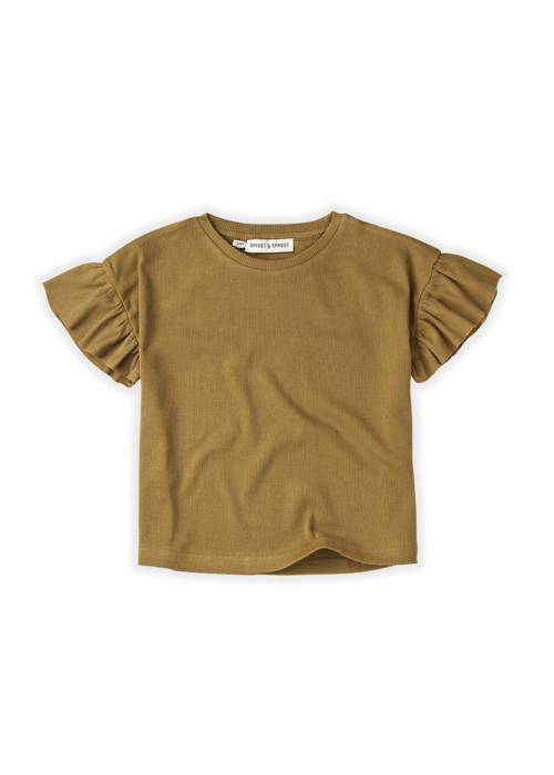 Sproet & Sprout Sproet & Sprout T-shirt Rib Ruffle Camel Desert