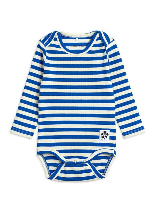 Mini Rodini Mini Rodini Stripe Rib LS Body Blue