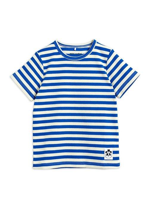 Mini Rodini Mini Rodini Stripe Rib SS Tee Blue